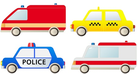 facia: set social specialized transport - police, ambulance, fire truck, taxi cab   Illustration