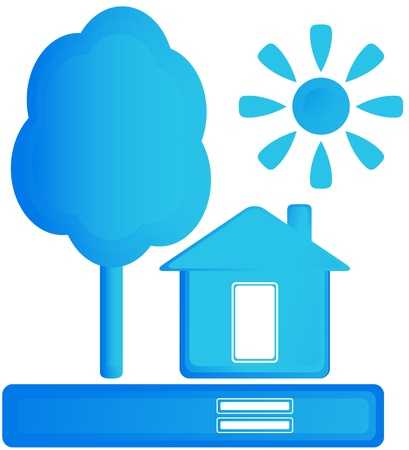 blue isolated sign with home, sun and tree Stock Vector - 16922004