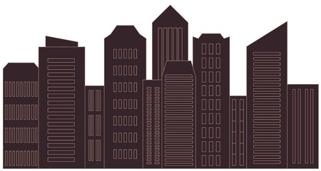 brown isolated skyscraper - modern urban landscape   Illustration