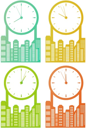 exchange rate: city skyscraper with clock - world stock time