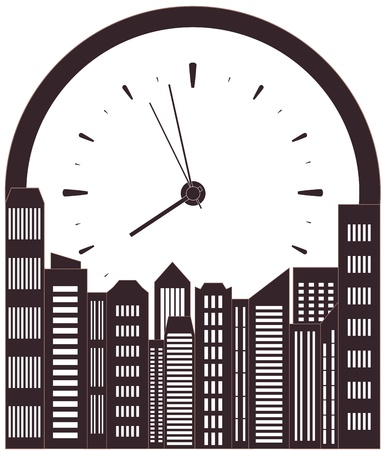 market place: isolated modern skyscraper and clock - symbol morning work time