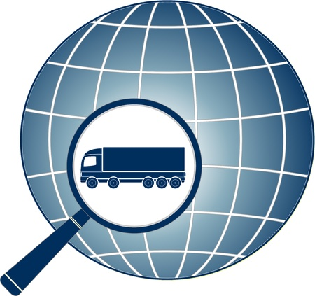 delivery symbol with magnifier, lorry and planet silhouette Stock Vector - 16922014