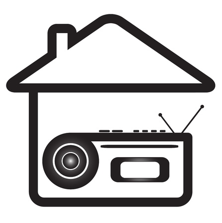 cd recorder: blue isolated icon with voice recorder in home silhouette