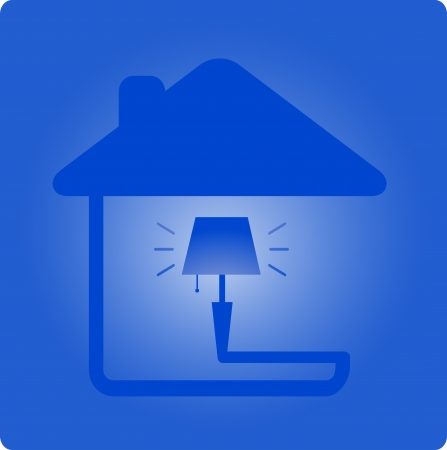 light symbol with floor lamp and house silhouette   Vector