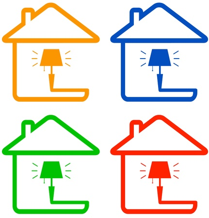 set isolated color icon with home floor lamp   Vector