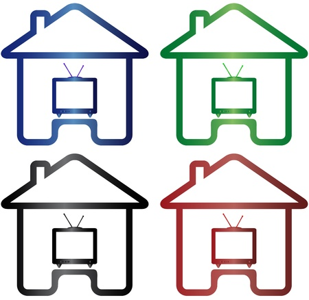 set colorful icon with house and TV silhouette   Vector