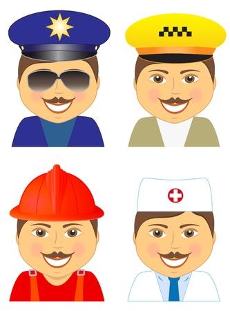 evacuacion: conjunto aislado hombre - policía, médico, bombero, conductor de taxi