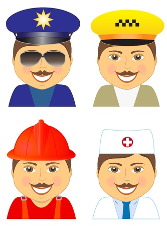 facia: set isolated man - police, doctor, fireman, taxi driver
