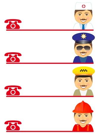 evacuacion: conjunto mans - bombero, policía, médico y conductor de taxi con lugar para el texto Vectores