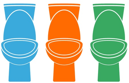 toilet seat: set of isolated colorful toilet - blue, yellow, green