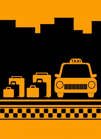 yellow cab: cab urban yellow background with bag, city and taxi symbol