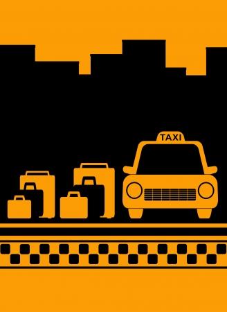 taxi: taxi urbano de fondo amarillo con el símbolo de bolsa, la ciudad y el taxi Vectores