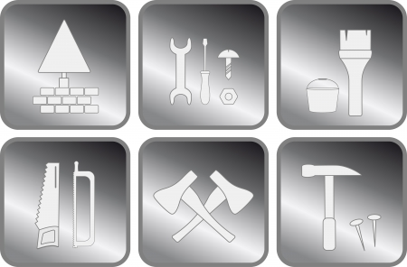 set isolated icon with tools for repair Stock Vector - 17035109