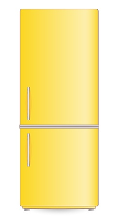 refrigerator with food: isolated yellow modern refrigerator