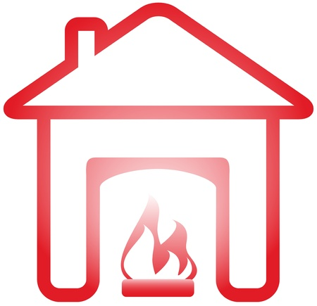isolated symbol with fireplace in warm home