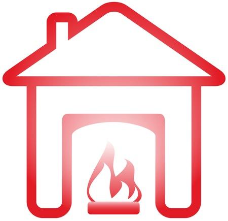 geïsoleerde symbool met open haard in warme thuis Vector Illustratie