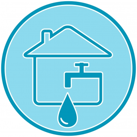 faucet water: blue icon with drop, faucet and house silhouette