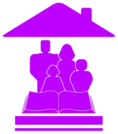 patronize: isolated violet icon with family, book and house silhouette