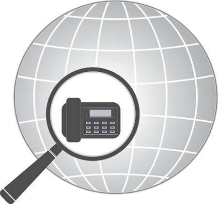 isolated icon with magnifier and office phone in planet silhouette   Vector