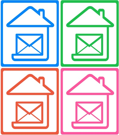 set colorful icon with home and letterbox - symbol mail delivery   Stock Vector - 17206748