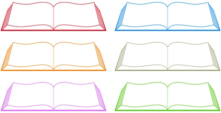 classbook: set isolated colorful book silhouette