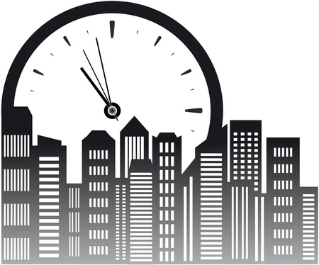 urban background with clock and skyscraper Stock Vector - 17206754