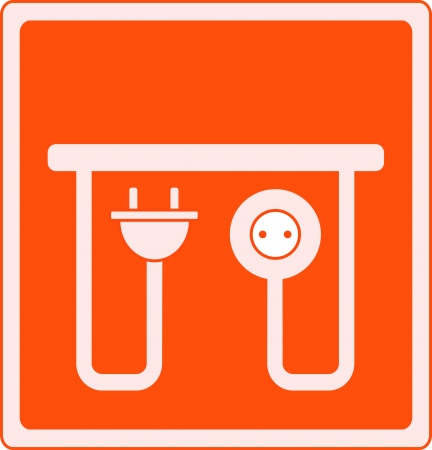 electrical outlet: yellow icon with AC outlet and plug - electrical symbol Illustration