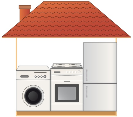 house with modern home appliances - gas stove, washing machine and refrigerator