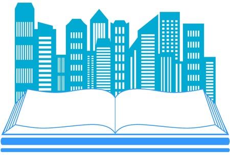 icon with skyscraper and book - real estate symbol Stock Vector - 17206751
