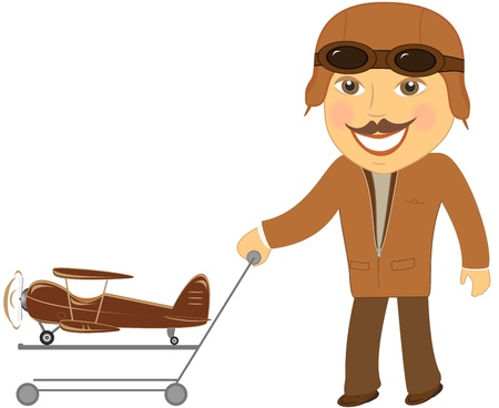 top animated: isolated man pilot with cart gift toy plane
