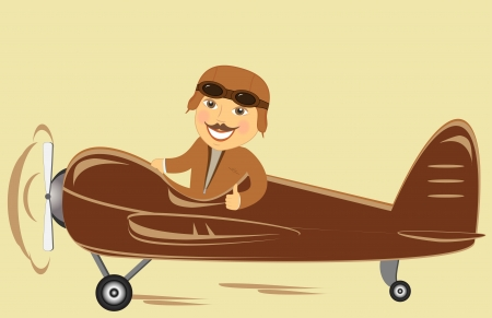 manage transportation: old plane with cartoon pilot showing thumb up