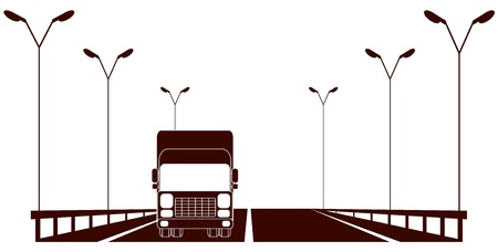 heavy load: isolated cargo symbol with highway and moving lorry
