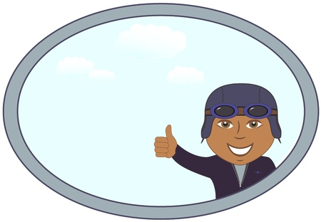 latin americans: smile cartoon afro american pilot in frame with sky