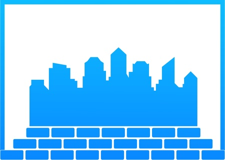 building materials: blue background - construction symbol with city and bricks