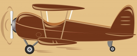 cartoon isolated retro biplane on brown background   Vector