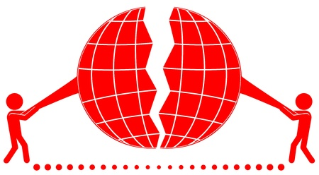 destroy symbol with two man tear planet   Illustration