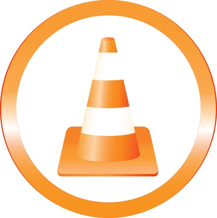 traffic cone: cone construction danger sign in round frame
