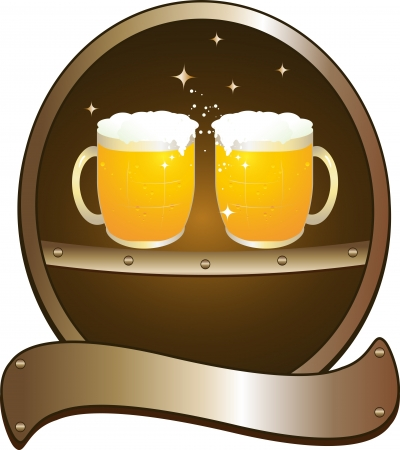 symbol beer pub with two mug   Vector