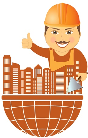 builder with city on planet - construction symbol   Vector