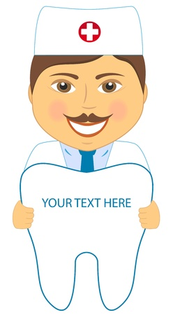 cavities: cartoon smile dentist with tooth and place for text   Illustration