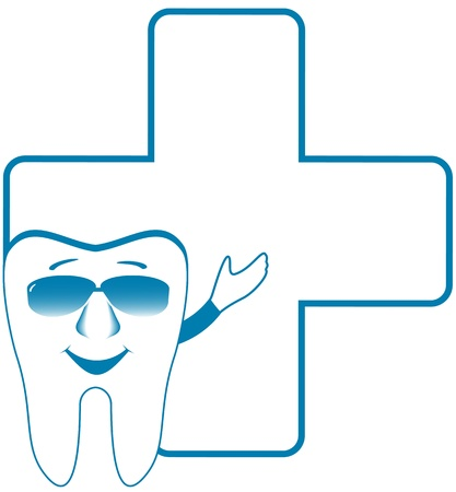 cavities: dental clinic symbol with cartoon smile tooth showing thumb up