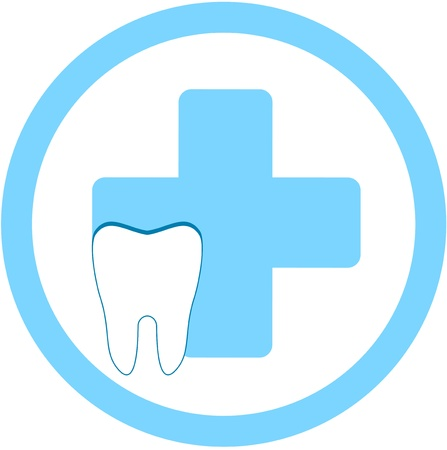 round dental clinic sign with medical symbol and tooth   Иллюстрация