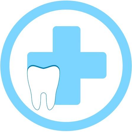 higiene bucal: signo ronda clínica dental con símbolo médico y dental