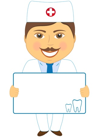 oral cavity: smile cartoon dentist with poster and tooth - place for text