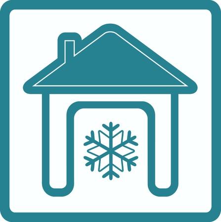 casa con copo de nieve - acondicionador s�mbolo en casa Vectores