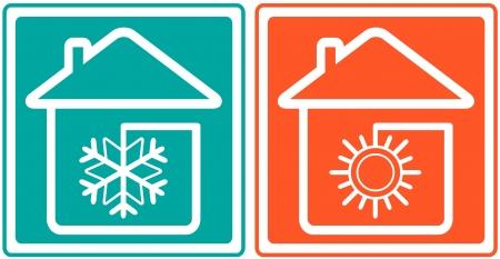 casa con copos de nieve y el sol s�mbolo acondicionador casa - climatizador