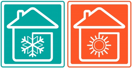 conditioning: house with snowflake and sun  home conditioner symbol  - climate control