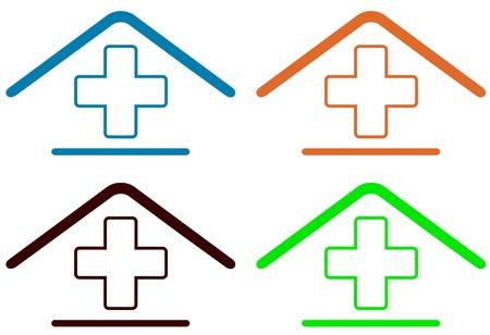 set sign - home medical symbol