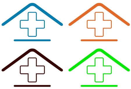 set sign - home medical symbol   Vector