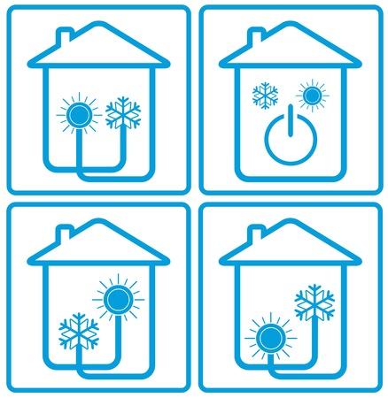 s�mbolo acondicionador en casa con el sol, copo de nieve y la silueta de la casa - Control de clima